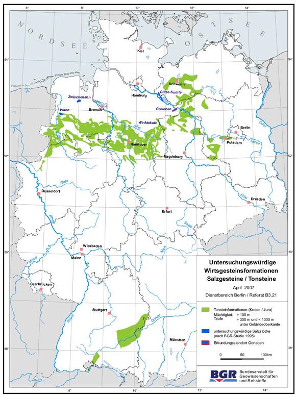Karte der untersuchungswürdigen Steinsalz- und Tonsteinformationen in Deutschland; BGR 2007