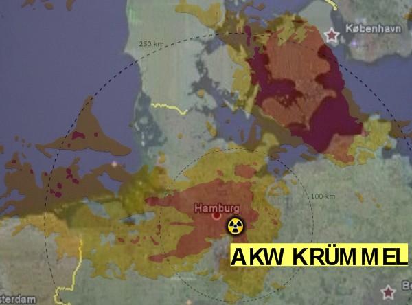 Ausbreitung der Radioaktivität nach Tschernobyl / Beispiel AKW Krümmel