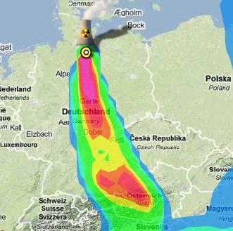 GAU in Krümmel, Ausbreitungskarte Radioaktivität; Greenpeace