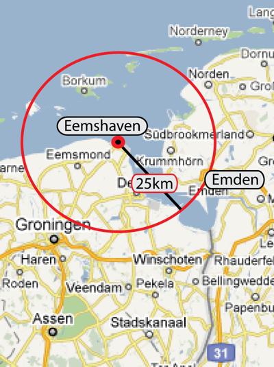 AKW Standort Eemshaven / Karte: maps.google.de