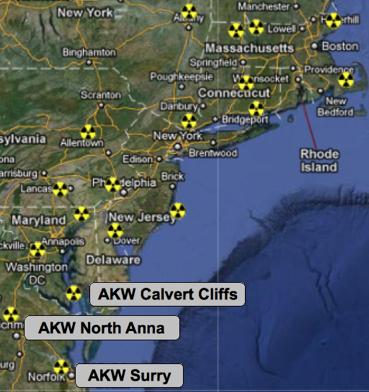 Atomanlagen an der US-Ostküste