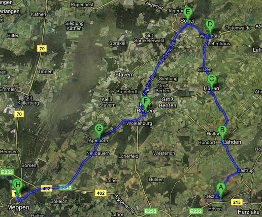 Fahrtroute des Schwertransports am 16.10., Karte: maps.google.de