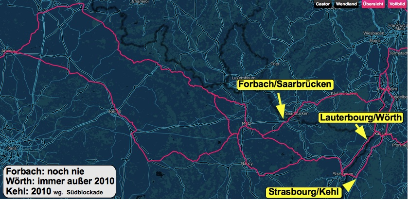 Castorrouten Frankreich 2011; Karte: castorticker.de