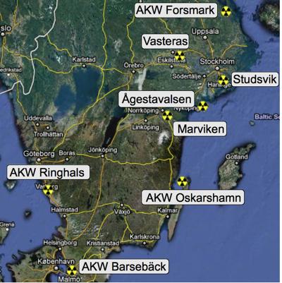 Atomstandorte in Schweden