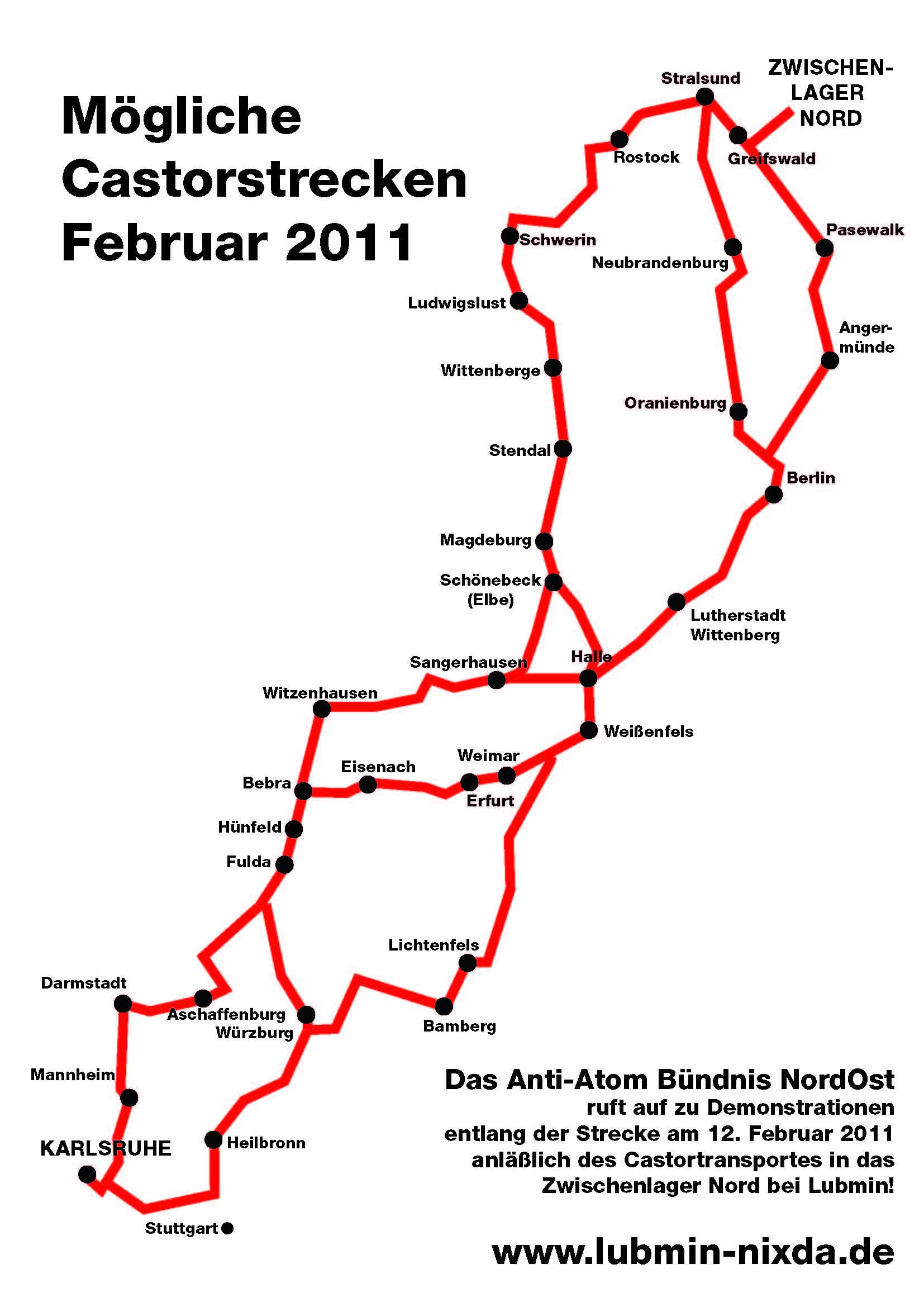 Mögliche Castorstrecken im Februar 2011