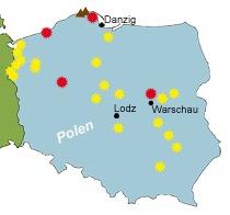 Mögliche Standorte für ein AKW in Polen
