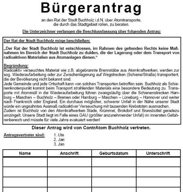 Bürgerantrag gegen Atommülltransport, Buchholz 2002