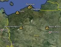 Polen: Ausgewiesene Standorte für den Bau eines AKW; Karte: googleearth