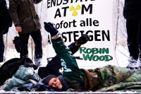 Lubmin-Castor: Gleisblockade Robin Wood / Foto: C. Grodotzki/ROBIN WOOD