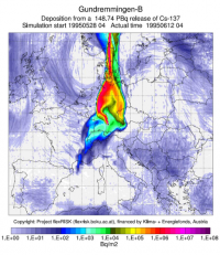 Unfall-Szenario AKW Gundremmingen-B mit meteorologischen Daten am 5. Mai 1995