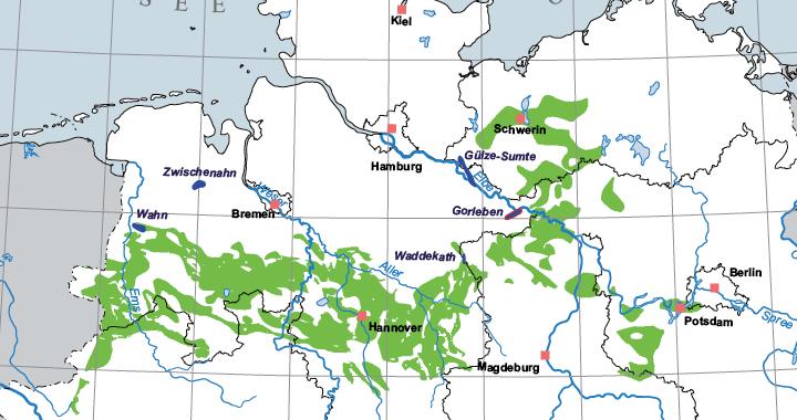 Mögliche Standorte für Atommüllendlager; aus: BGR, Endlagerformationen in Deutschland