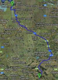 Mögliche Transportroute für MOX-Brennstäbe Nordenham - AKW Grohnde; Karte: google