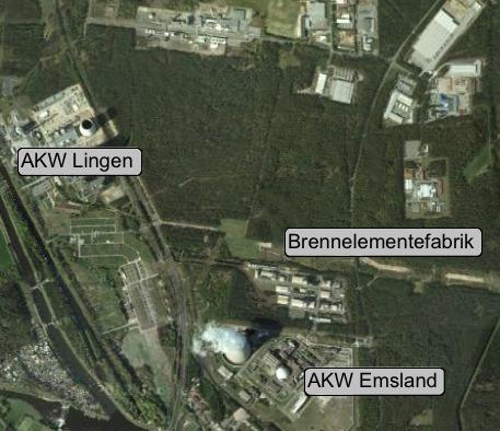 Atomstandort Lingen; Karte: maps.google.de