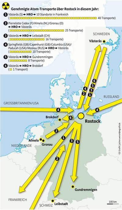 Atomtransporte über Rostock; Quelle: OZ vom 14.06.2011