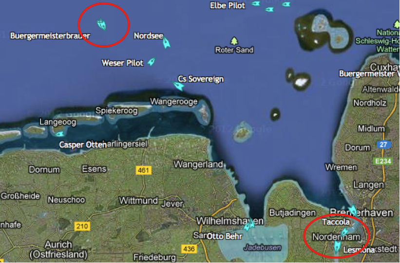 11.00 Uhr - Schiffsposition AO, Quelle: marinetraffic.com