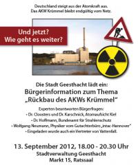 Veranstaltung 13.9. Rückbau AKW Krümmel