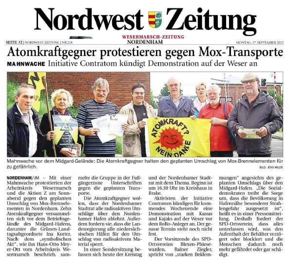 Nordwestzeitung von Montag, 17.09.2012