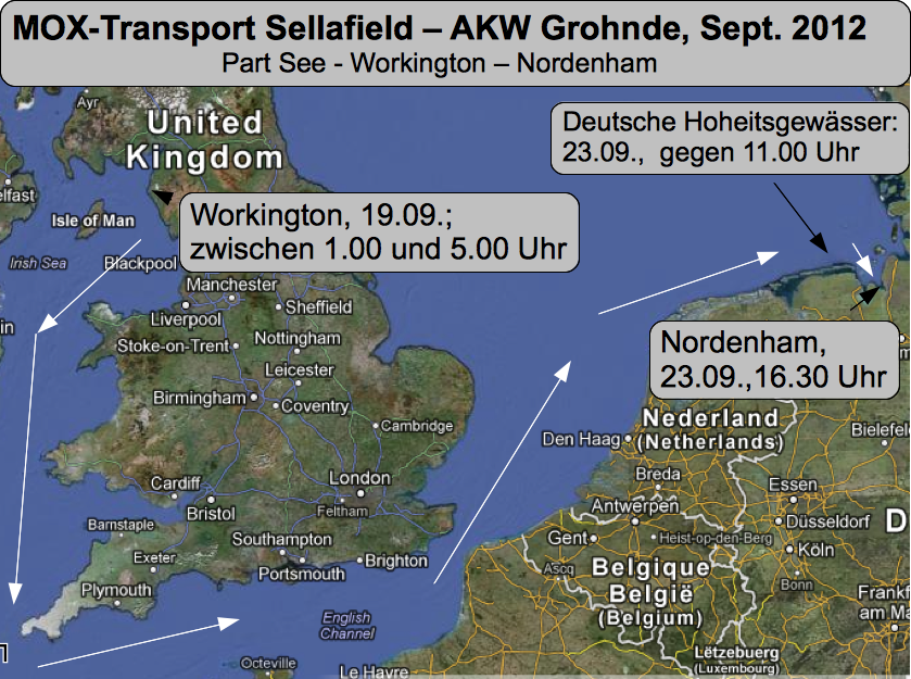 MOX-Transport, Seeweg von Workington /Sellafield - Nordenham, 19.-23.09.2012