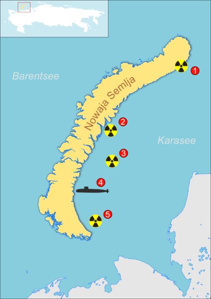 Karasee/Russland: Orte, an denen Atommüll versenkt wurde. Bild: wikipedia.org
