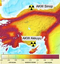 Türkei: Standorte für geplante AKW; Erdbebenkarte: European Seismological Comission