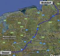 MOX-Transport Dessel (Belgien) - AKW Brokdorf; Karte: google
