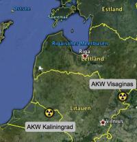 Konkurrenz in Baltic: AKW Kaliningrad & AKW Visaginas; Karte: google earth