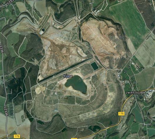 Wismut-Schlammteiche bei Seelingstädt; Bild: google