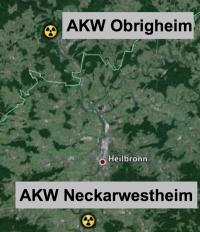 Obrigheim - Neckarwestheim; Karte: google